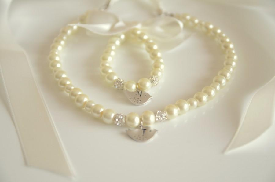 Ivory Flower Girl Jewelry Set Inital Hand Stamped With