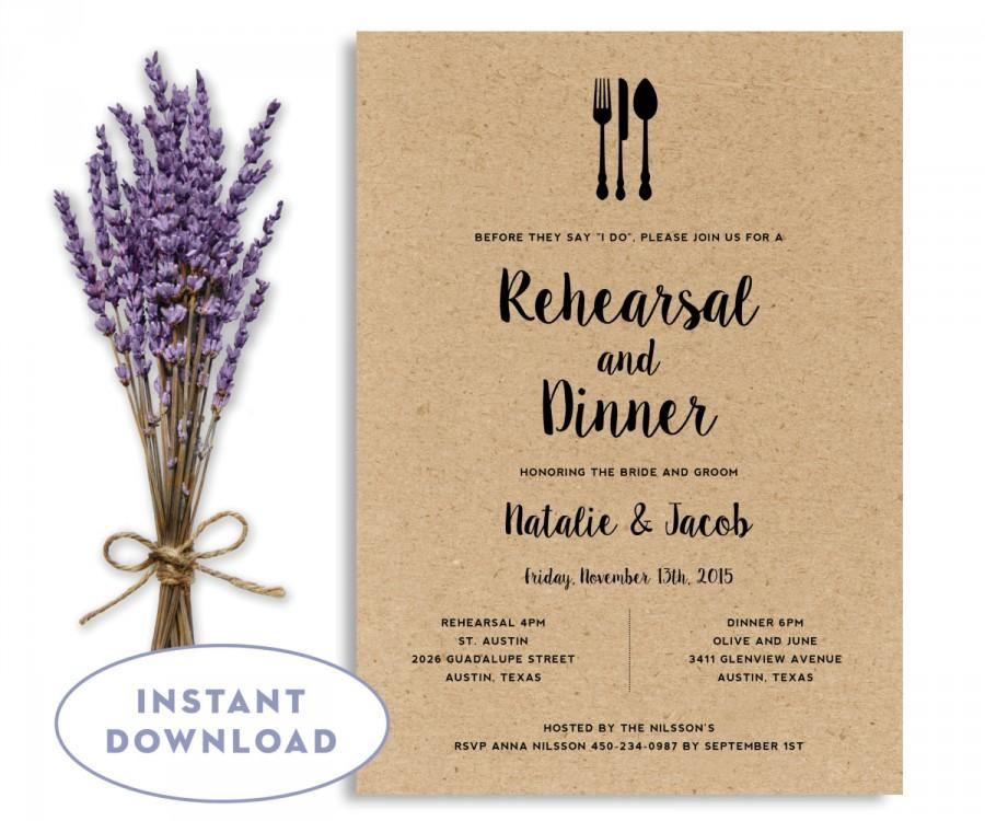 Rehearsal Dinner Invitation Template, Wedding Rehearsal Editable - dinner invitation template