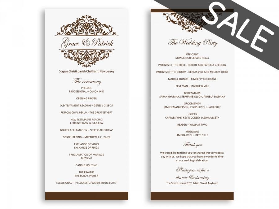Sale Wedding Program Template Download - Wedding Programs Instant - wedding programs word template