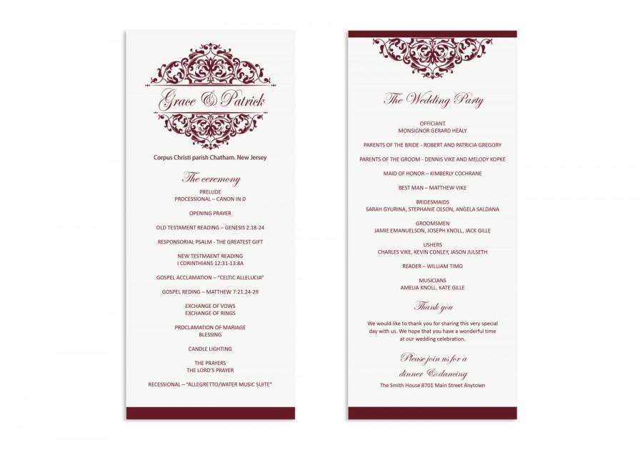Wedding Program Template - Printable Wedding Program - Wedding - wedding program templates for word