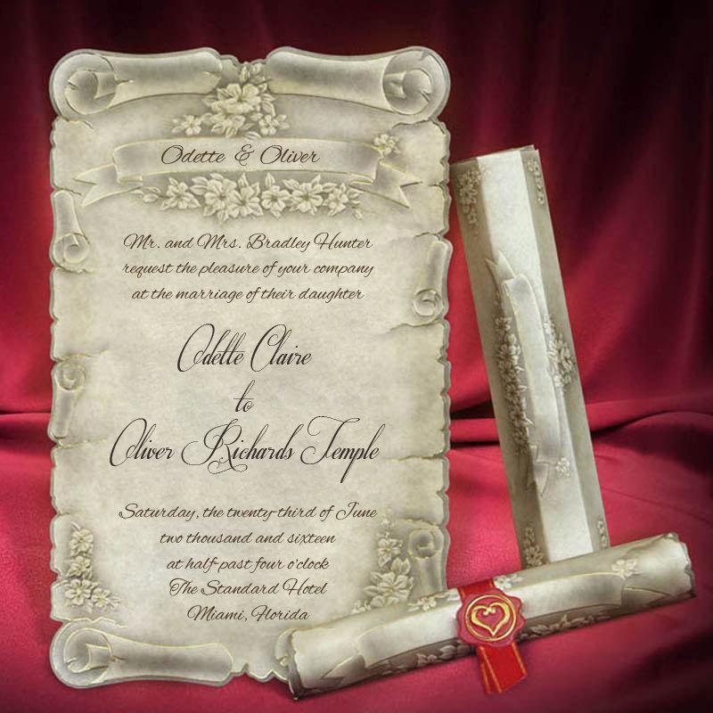 Scroll Wedding Invitation Card Personalized Beautiful Invitations