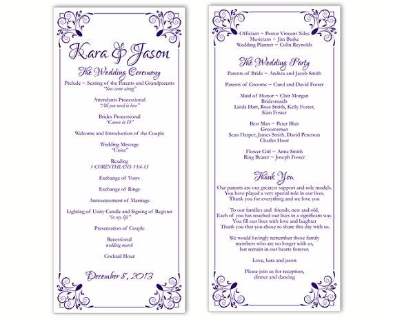 Wedding Program Template DIY Editable Word File Instant Download
