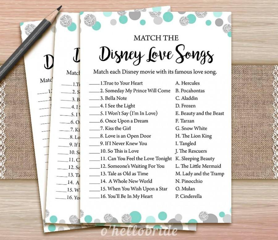 Disney Love Songs Bridal Shower Game - Printable Mint Turquoise