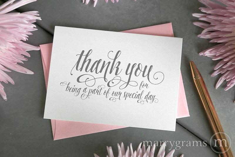 Wedding Thank You Note Card Set -Misc Thank You For Being A Part Of