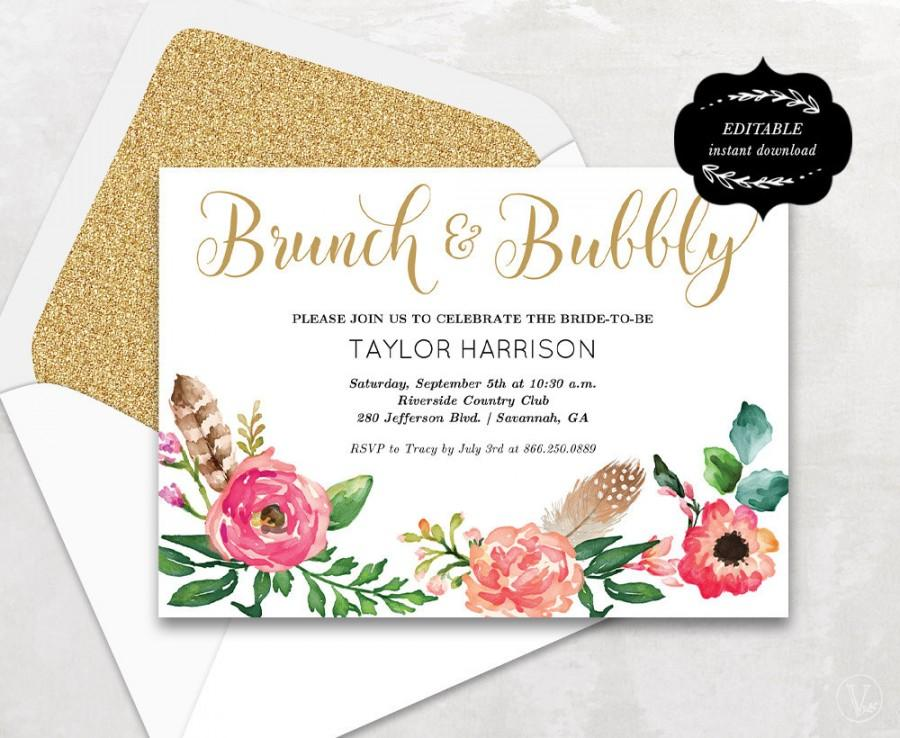 Floral Bridal Shower Template, Printable Bridal Shower Invitation