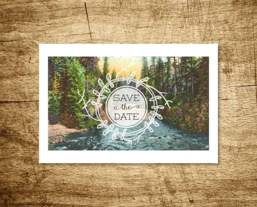 Printable Save The Date Postcard - Meandering Creek - Vintage Forest - save date postcard