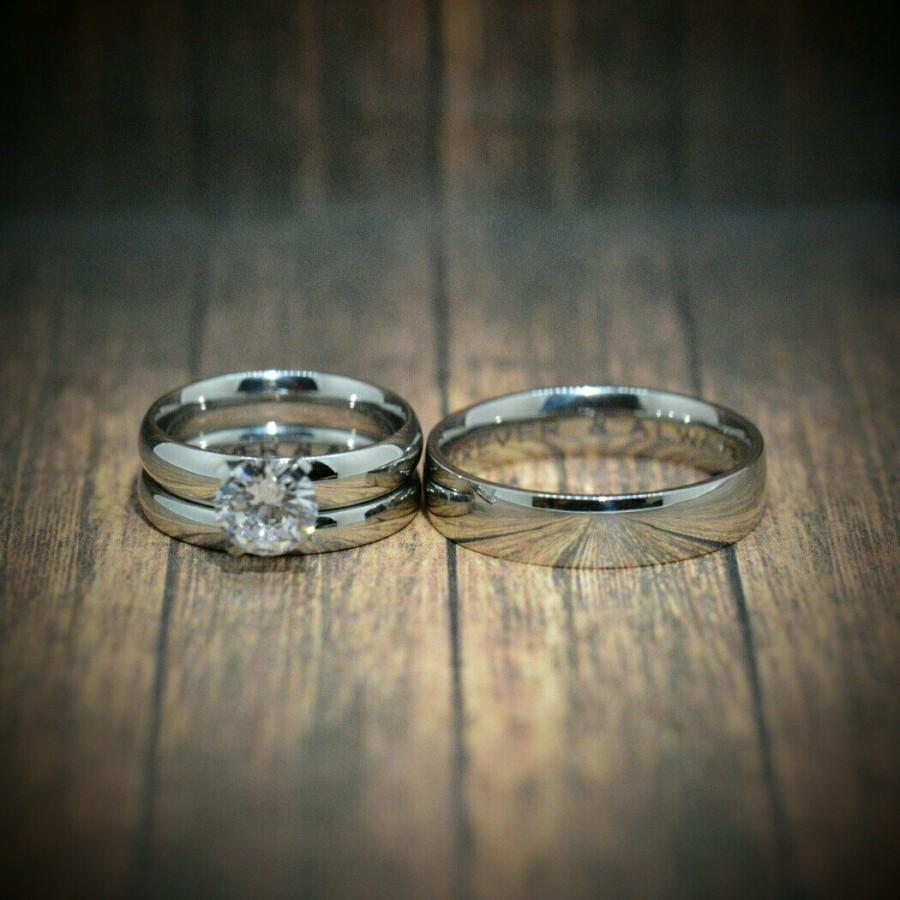 BW stainless steel wedding bands Amazon com Black Stainless Steel Wedding Ring Sets Cushion Cut Cubic Zirconia Women size 4 5 to 11 SPJ Jewelry