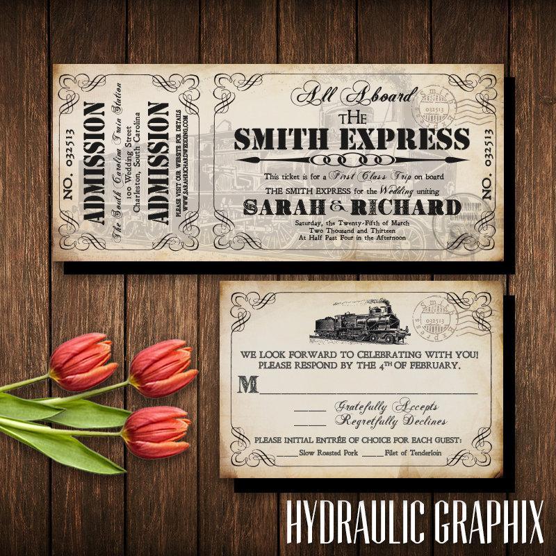 Train Ticket Invitation Set, Invitation Printable For Steampunk