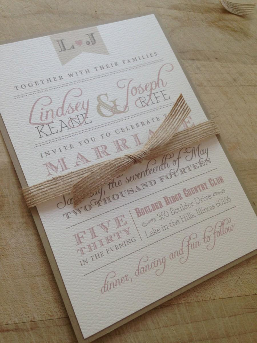 Wedding Invitation Suite Sample Rustic And Vintage