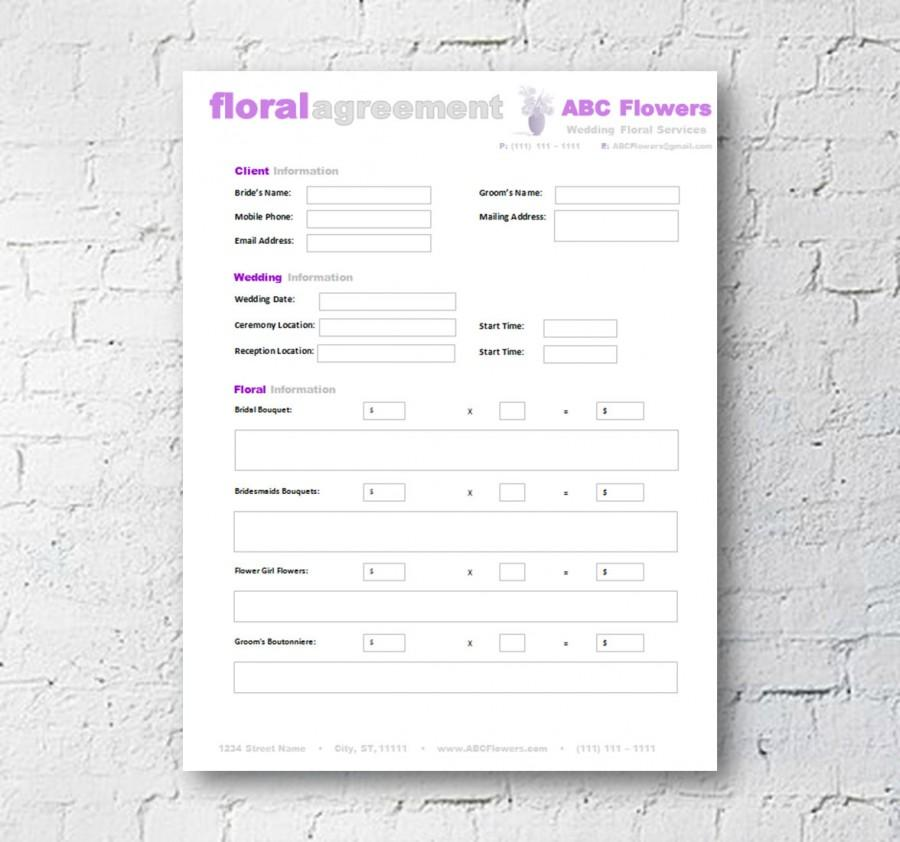 Floral Shop Bridal Agreement Contract Template #2500895 - Weddbook