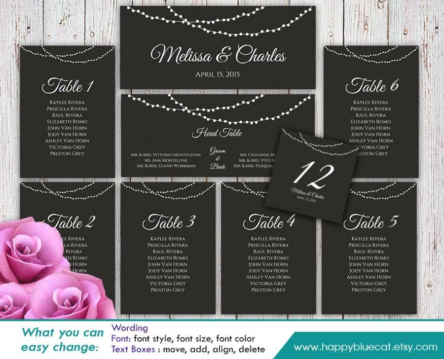 DiY Printable Wedding Seating Chart Template - Instant Download