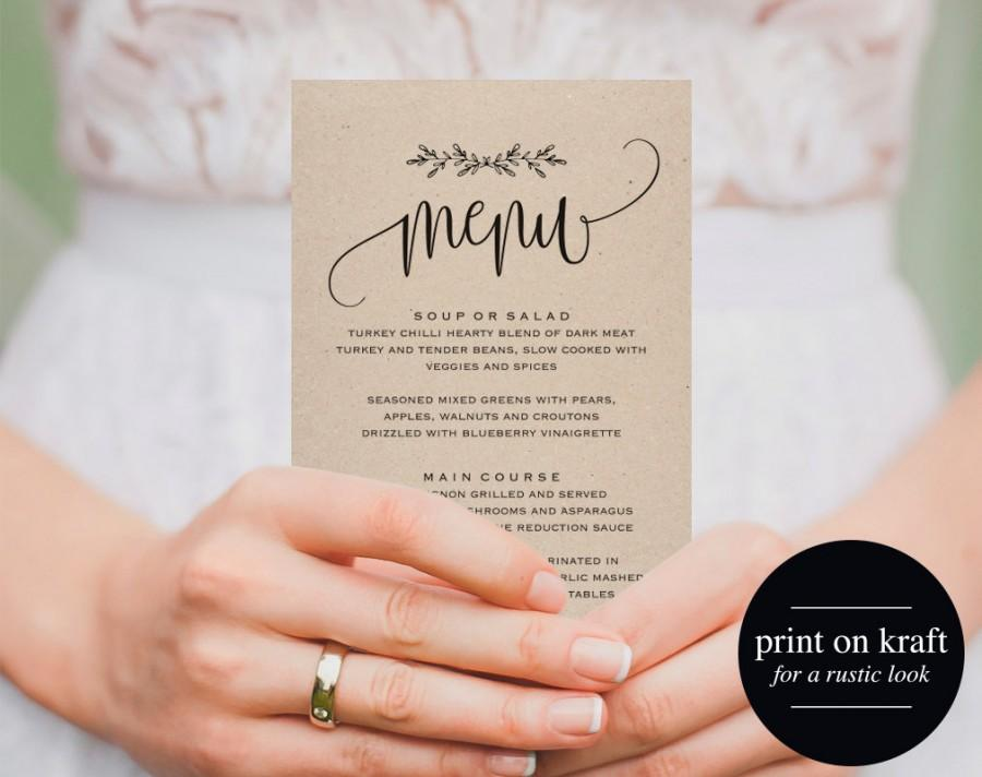 Printable Wedding Menu, Wedding Menu Template, Menu Cards, Menu