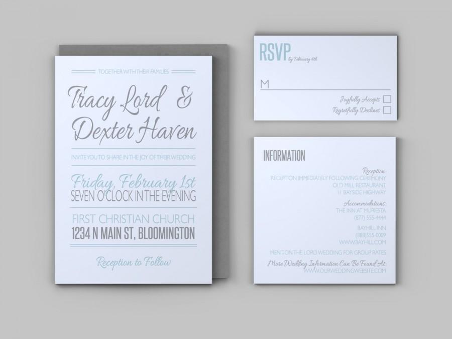 Casual Wedding Invitation Set - Invitation, Response Card, And