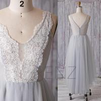 2016 Light Grey Bridesmaid Dress, Long Gray Mesh Wedding