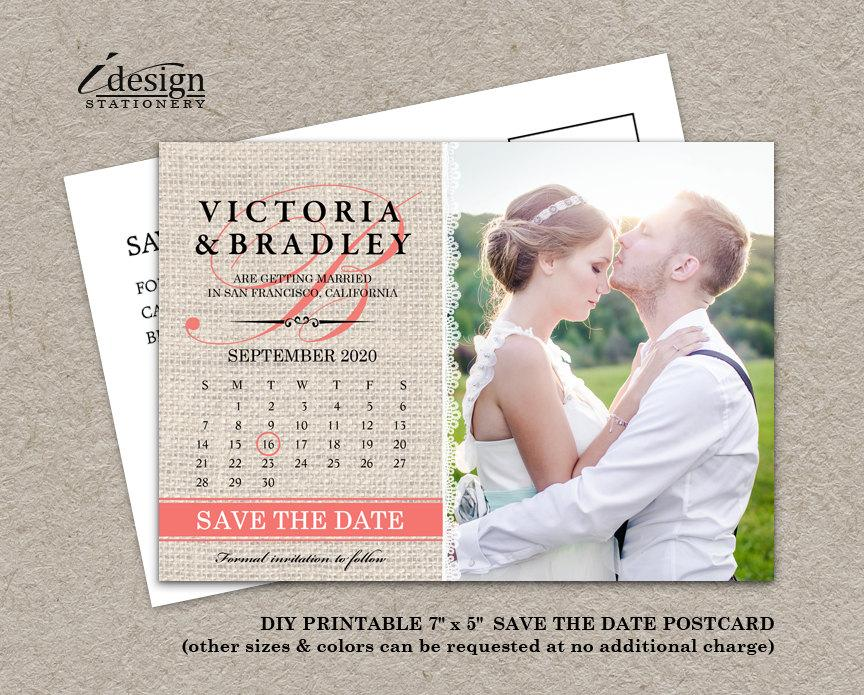 Calendar Wedding Photo Save The Date Postcard, DIY Printable Rustic