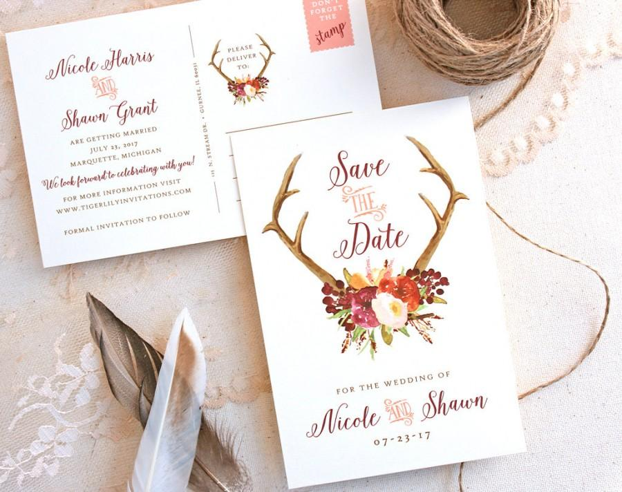 Antler Save The Date Postcard With Burgundy, Peach And Eggplant - save date postcard
