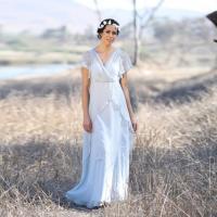 2016 Grey Maxi Bridesmaid Dress, V Neck Wedding Dress