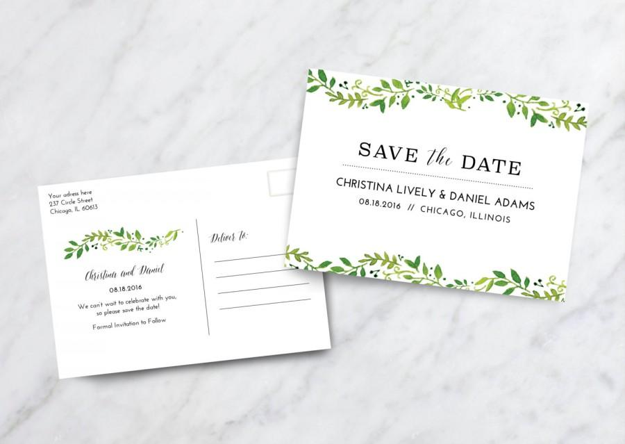 Save The Date Card Postcard / Floral Save The Date Postcard - save date postcard