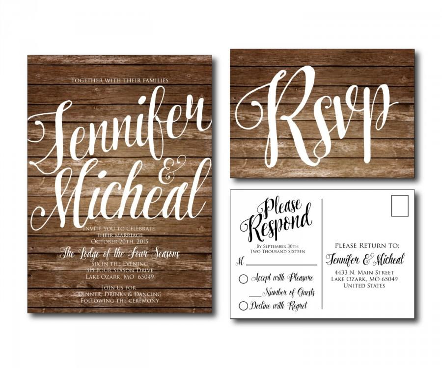 Rustic Wedding Invitation - Country Chic - Fall Wedding - Printable