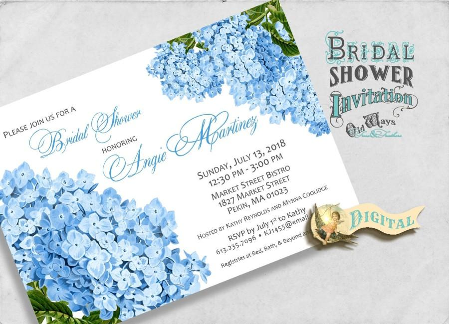 Printable Blue Hydrangea Bridal Shower Invitation - Cottage Chic