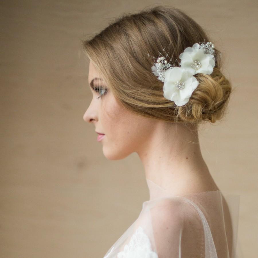 Bridal Hair Accessories, Flower Bridal Headpiece, Bridal