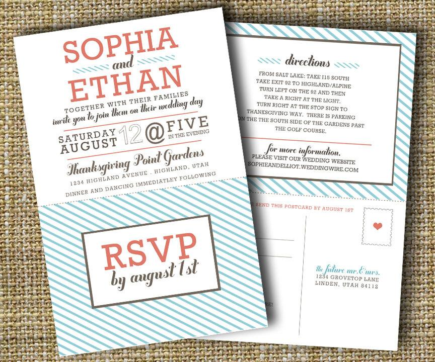 Modern Wedding Invitation With Perforated Rsvp Card - Lovely