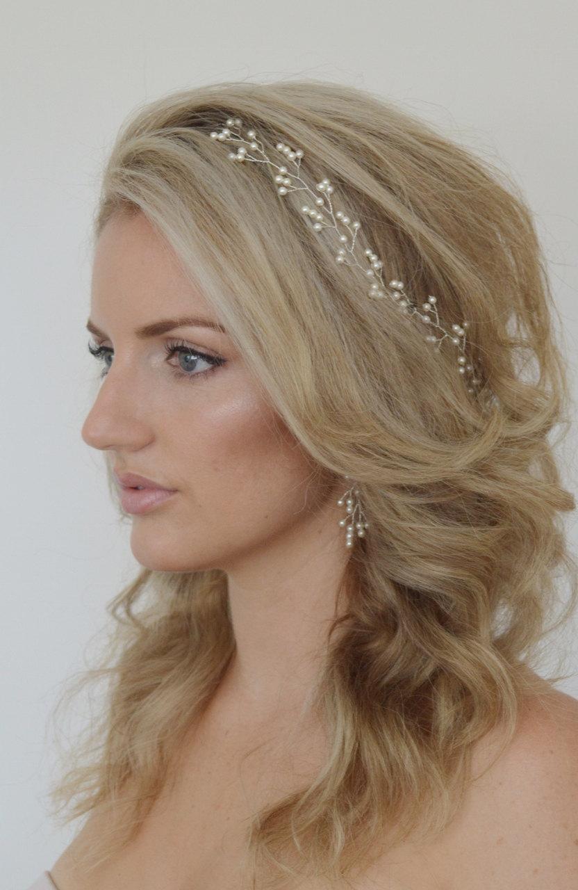 Baby s breath pearl hair vine pearl bridal headpiece wedding hair accessories bridal hair vine swarovski pearl hair vine bridal hairpiece