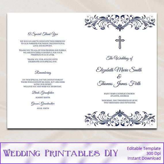Catholic Wedding Program Template, Diy Navy Blue Cross Ceremony - church program