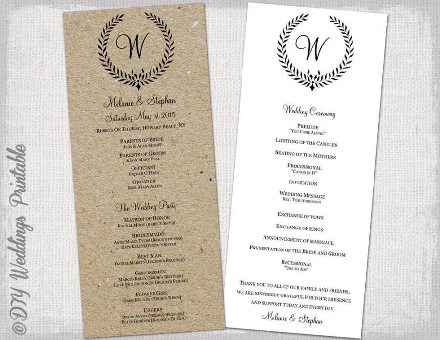 Wedding Program Template Rustic Black Quotleaf Garland