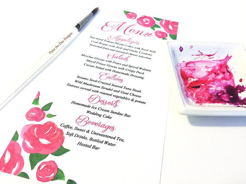 Watercolor Wedding Menu - Entree Card Napkin Insert Menu \