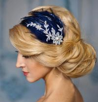 Blue Wedding Fascinator, Navy Blue And Silver Lace Feather ...