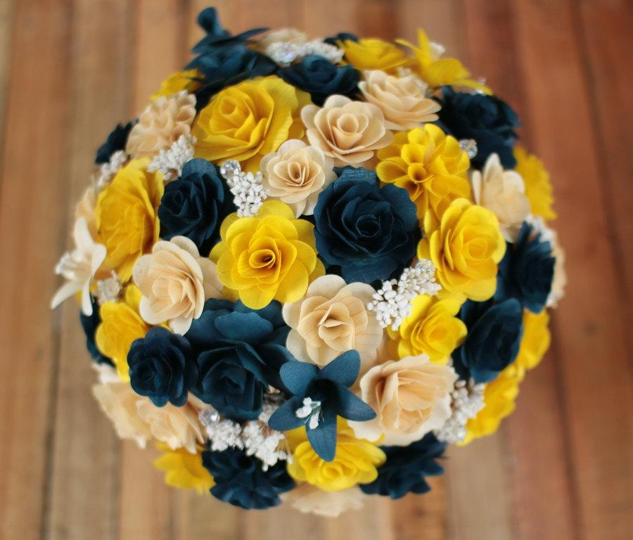 shipping navy blue yellow wooden bouquet wedding home yellow wood wedding bouquets