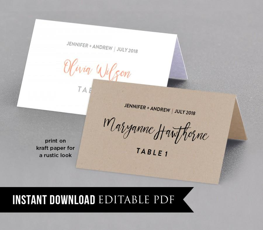 Place Card Template, Instant Download, Rustic Seating Cards, Table - template for name cards