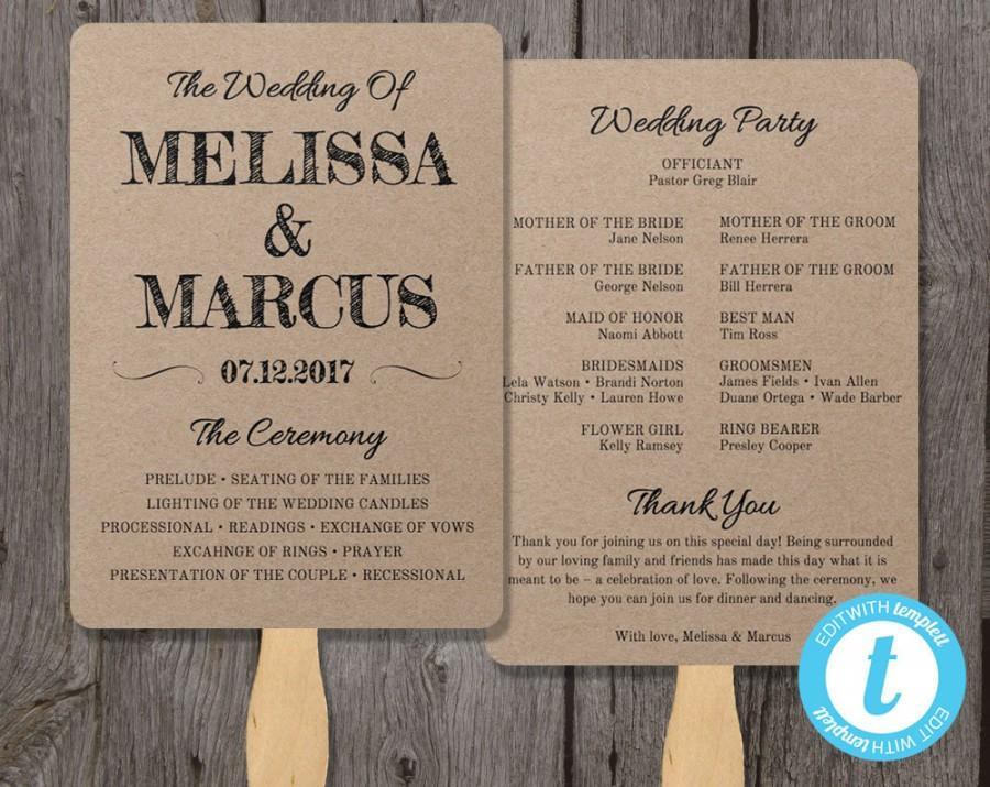 Rustic Wedding Program Fan Template, Fan Wedding Program Template