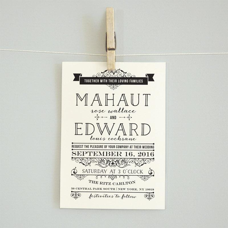 Printable Wedding Invitation Reception Card Rsvp Card Details Card