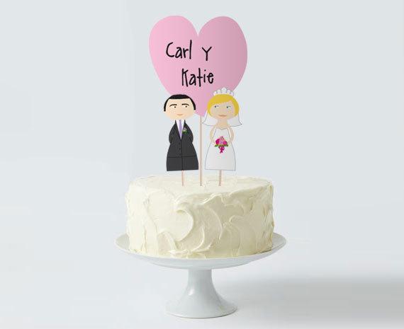 Wedding Cake Topper Set, Custom Bride Groom Heart, Personalize Cake