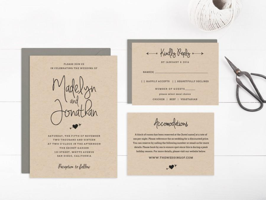 Wedding Invitation Template Printable, Editable Text And Artwork