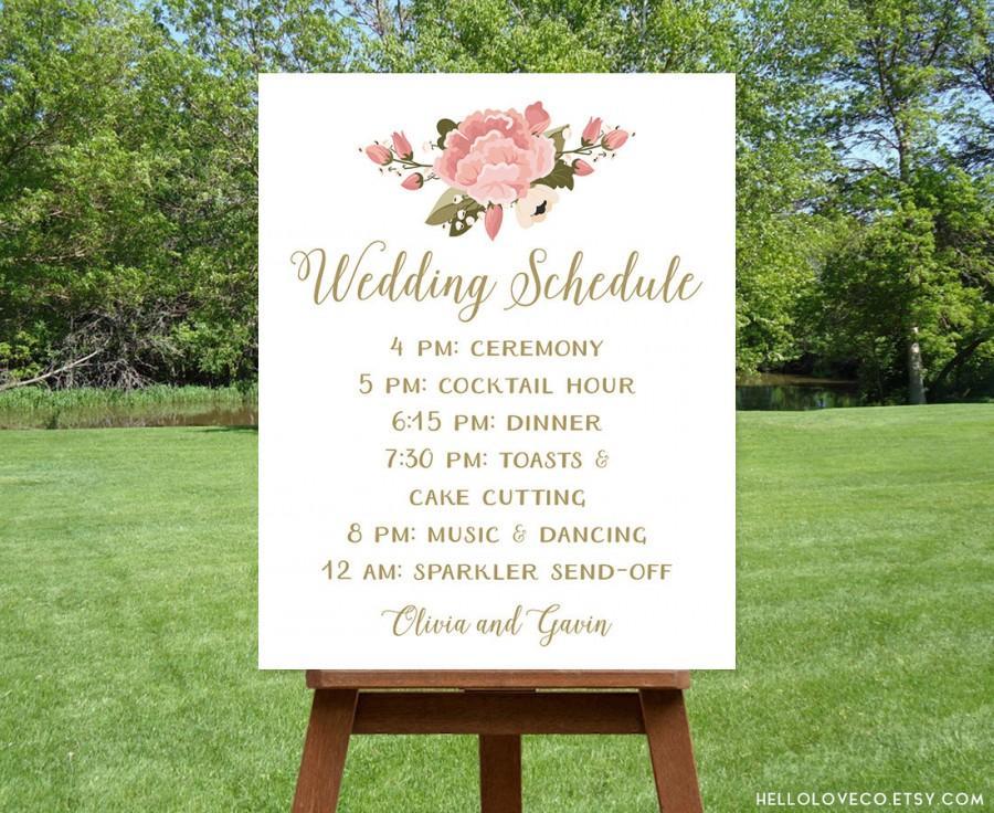 PRINTABLE Wedding Schedule Sign, Custom Wedding Program Sign, Pink