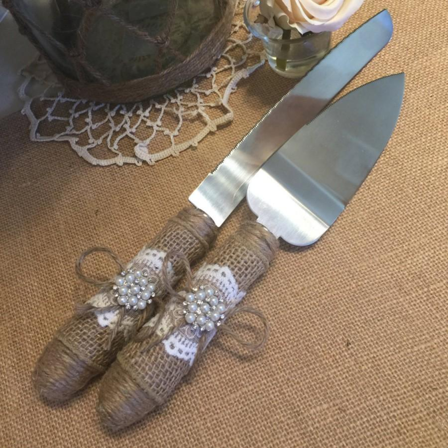 Cake Server And Knife Set, Burlap Wedding, Rustic Wedding