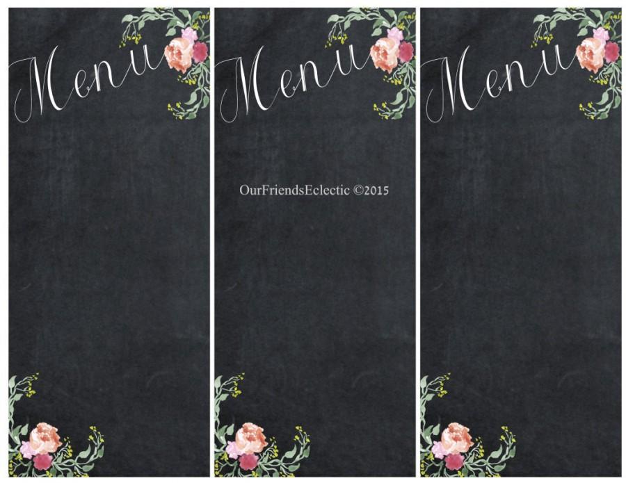 Printable Chalkboard Menu, Chalkboard Wedding Party Menu, Menu Blank