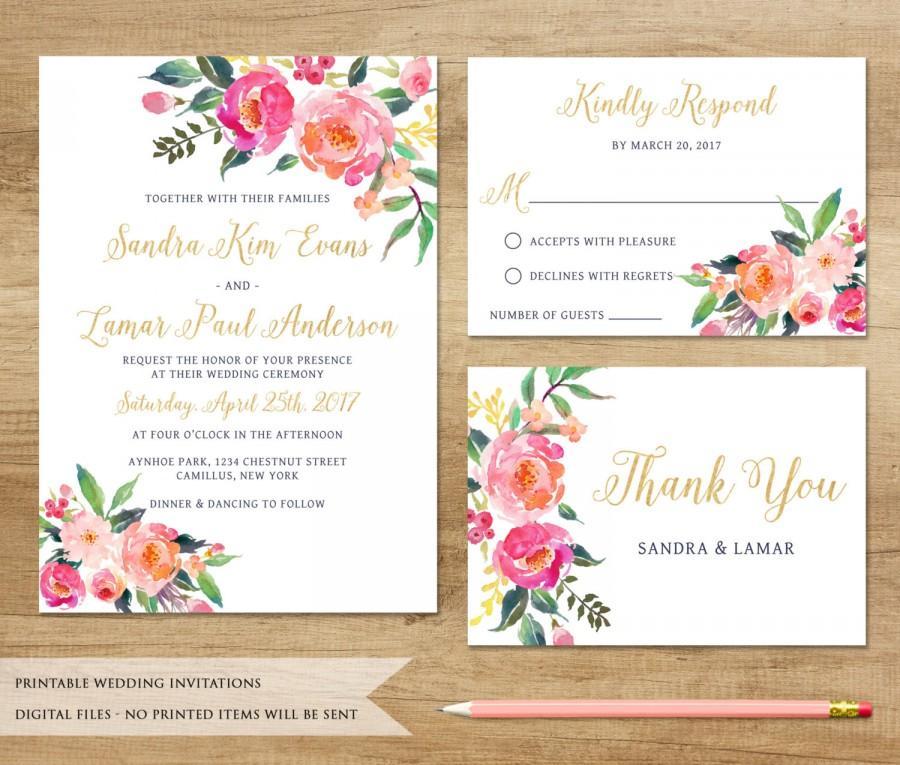 Watercolor Floral Wedding Invitation Printable Wedding Invitation