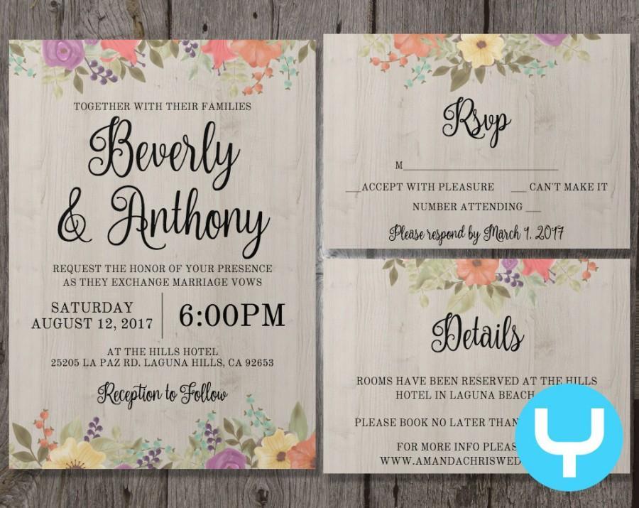 Printable Floral Wedding Invitation Template Set + RSVP, Details