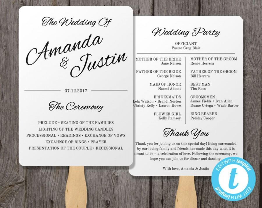 Printable Wedding Program Fan Template, Fan Wedding Program Template