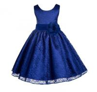 Wedding Floral Lace Overlay Navy Blue Flower Girl Dress ...