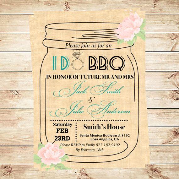 I Do Bbq Invitation Template, Mason Jar Invitation, Engagement - bbq invitation template