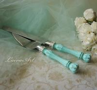 Mint Wedding Cake Server Set & Knife Cake Cutting Set ...
