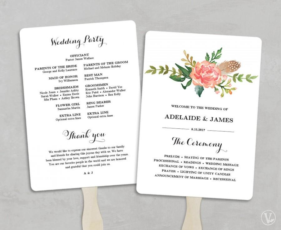 Wedding Program Inclusions Printable Wedding Program Template Fan - wedding program inclusions