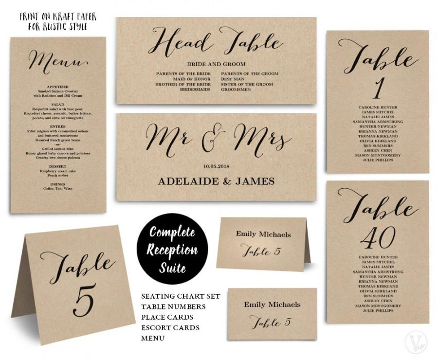 Printable Wedding Seating Chart Template, PLUS Table Numbers, Menu - number chart template