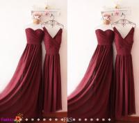 Burgundy Bridesmaid Dress,Strapless Prom Dress,Junior ...