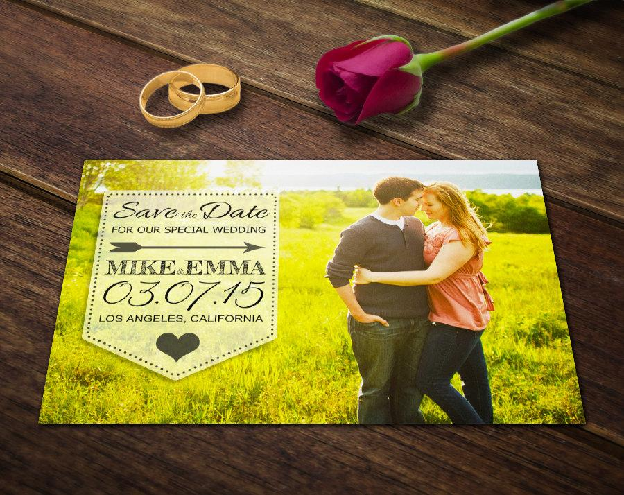 Wedding Save The Date Postcard Template - Photoshop Template PSD